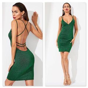 Open Back Strappy Lurex Glitter Green Mini Dress